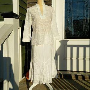 Nygard White Eyelet Skirt Set